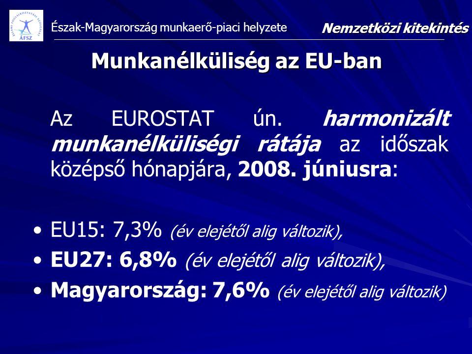 Észak-Magyarország munkaerő-piaci helyzete Munkanélküliség az EU-ban Az EUROSTAT ún. harmonizált munkanélküliségi rátája az időszak középső hónapjára,