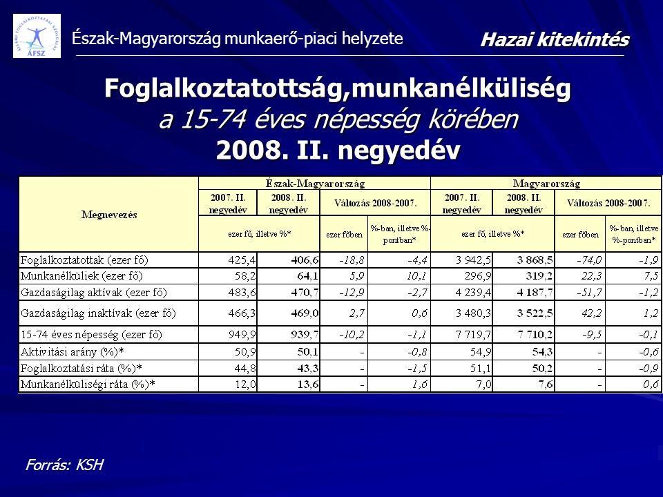 Észak-Magyarország munkaerő-piaci helyzete Foglalkoztatottság,munkanélküliség a 15-74 éves népesség körében 2008. II. negyedév Forrás: KSH Hazai kitek