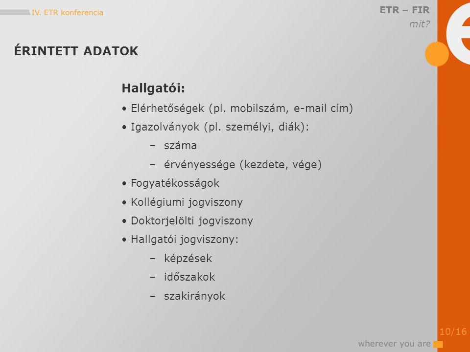 ÉRINTETT ADATOK ETR – FIR mit. Hallgatói: Elérhetőségek (pl.