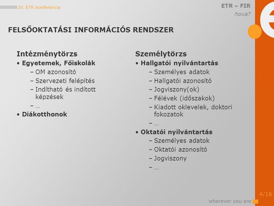 ÜTEMEZÉS ETR – FIR 2006.október –a specifikáció kiadása 2006.