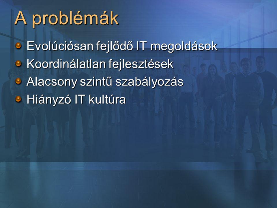 A problémák Evolúciósan fejlődő IT megoldások Koordinálatlan fejlesztések Alacsony szintű szabályozás Hiányzó IT kultúra