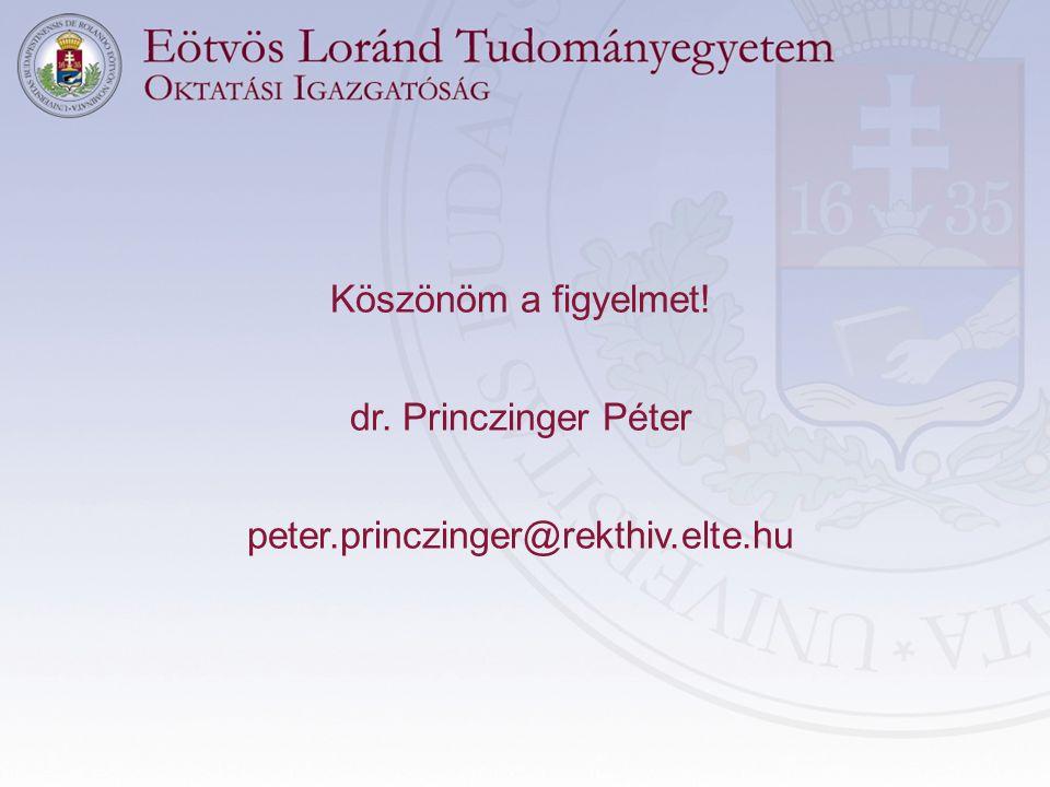 Köszönöm a figyelmet! dr. Princzinger Péter peter.princzinger@rekthiv.elte.hu