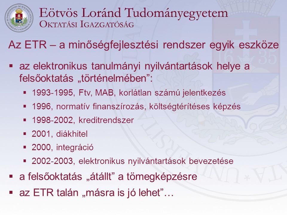 """ az elektronikus tanulmányi nyilvántartások helye a felsőoktatás """"történelmében"""":  1993-1995, Ftv, MAB, korlátlan számú jelentkezés  1996, normatív"""