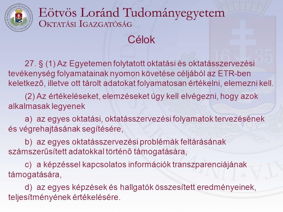 Célok 27. § (1) Az Egyetemen folytatott oktatási és oktatásszervezési tevékenység folyamatainak nyomon követése céljából az ETR-ben keletkező, illetve