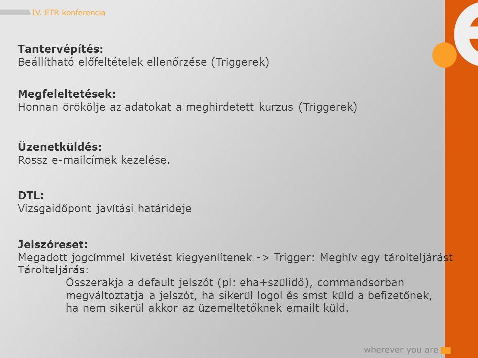 Tantervépítés: Beállítható előfeltételek ellenőrzése (Triggerek) Megfeleltetések: Honnan örökölje az adatokat a meghirdetett kurzus (Triggerek) Üzenet