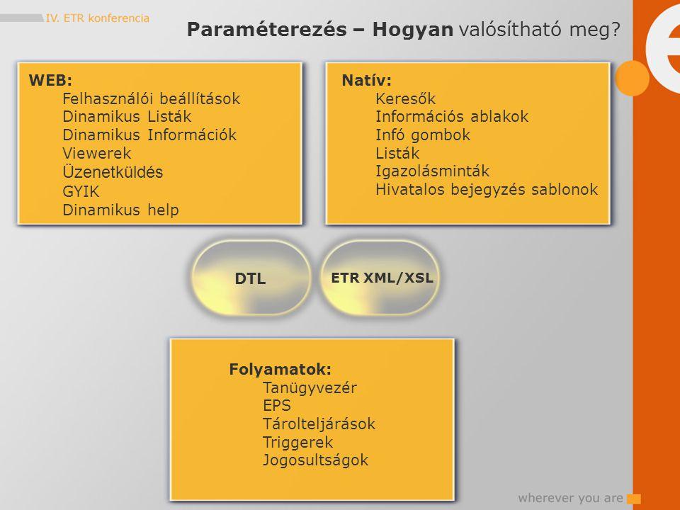 WEB: Felhasználói beállítások Dinamikus Listák Dinamikus Információk Viewerek Üzenetküldés GYIK Dinamikus help Natív: Keresők Információs ablakok Infó