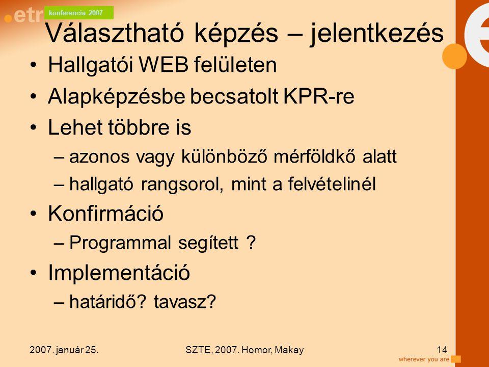 konferencia 2007 2007. január 25.SZTE, 2007. Homor, Makay14 Választható képzés – jelentkezés Hallgatói WEB felületen Alapképzésbe becsatolt KPR-re Leh