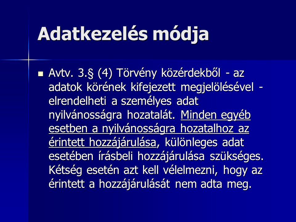 Adatkezelés módja Avtv.