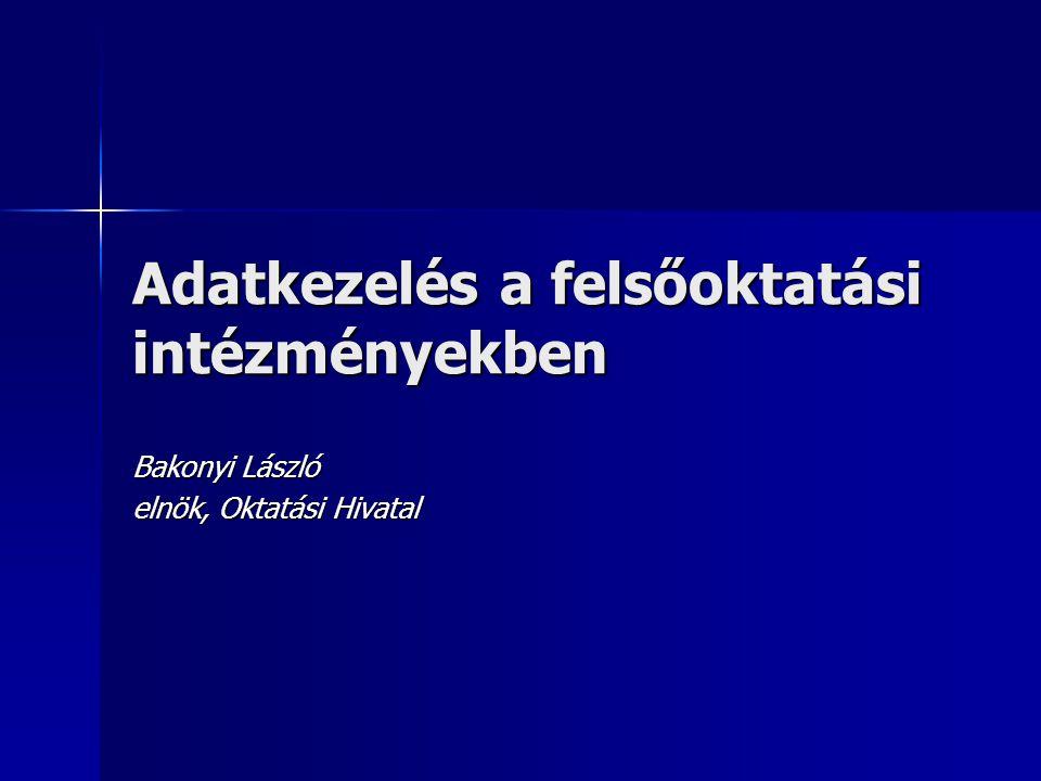Adatkezelés a felsőoktatási intézményekben Bakonyi László elnök, Oktatási Hivatal