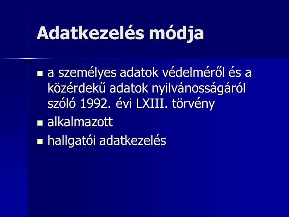 Adatkezelés módja a személyes adatok védelméről és a közérdekű adatok nyilvánosságáról szóló 1992.