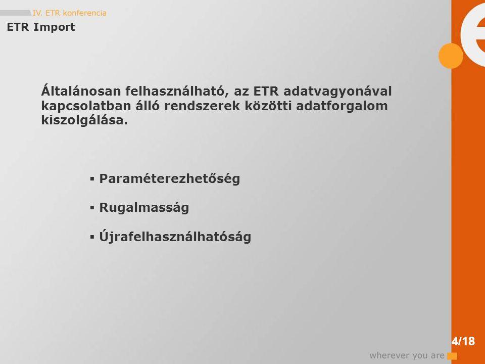ETR Import Általánosan felhasználható, az ETR adatvagyonával kapcsolatban álló rendszerek közötti adatforgalom kiszolgálása.