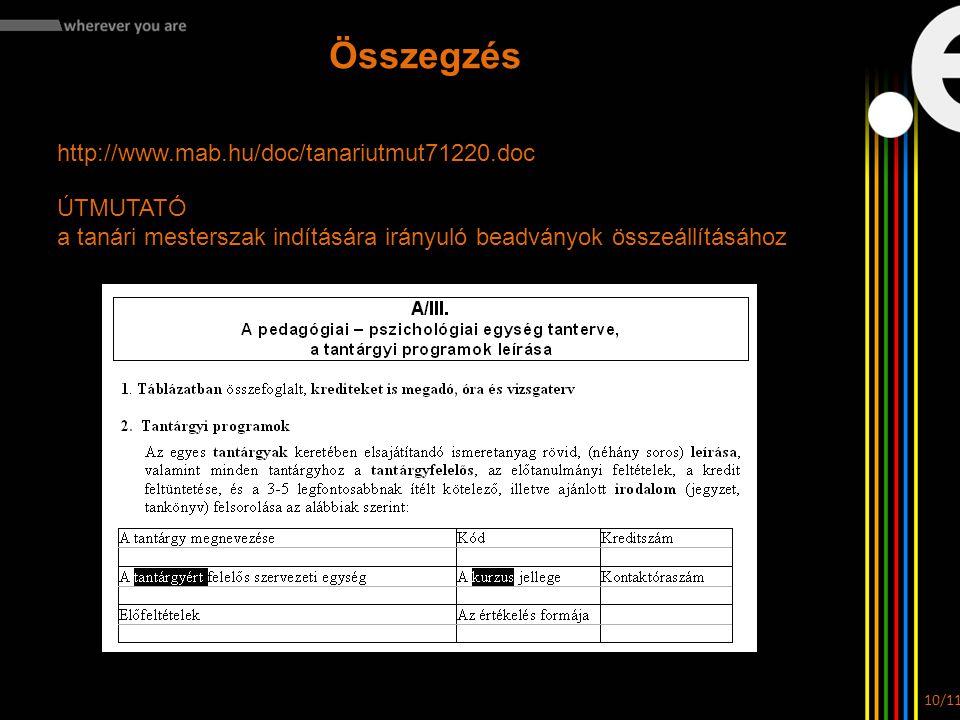 Összegzés http://www.mab.hu/doc/tanariutmut71220.doc ÚTMUTATÓ a tanári mesterszak indítására irányuló beadványok összeállításához 10/11