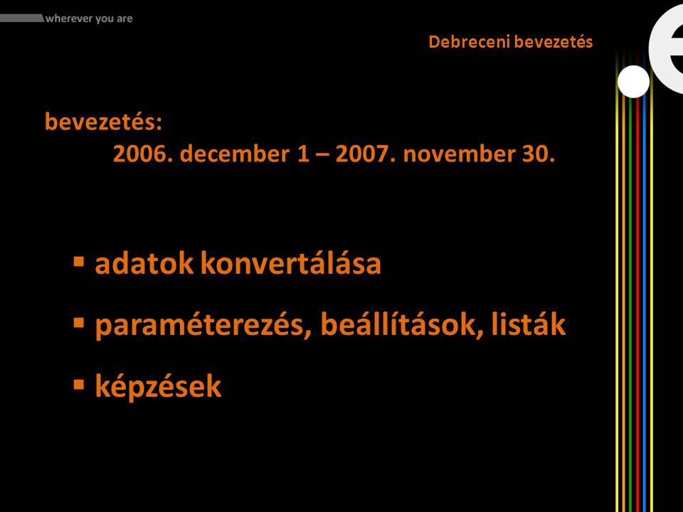 bevezetés: 2006. december 1 – 2007. november 30. Debreceni bevezetés  adatok konvertálása  paraméterezés, beállítások, listák  képzések