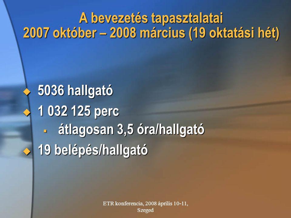 A bevezetés tapasztalatai 2007 október – 2008 március (19 oktatási hét)  5036 hallgató  1 032 125 perc  átlagosan 3,5 óra/hallgató  19 belépés/hal