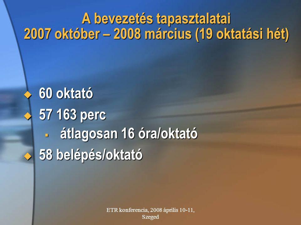 ETR konferencia, 2008 április 10-11, Szeged A bevezetés tapasztalatai 2007 október – 2008 március (19 oktatási hét)  60 oktató  57 163 perc  átlago