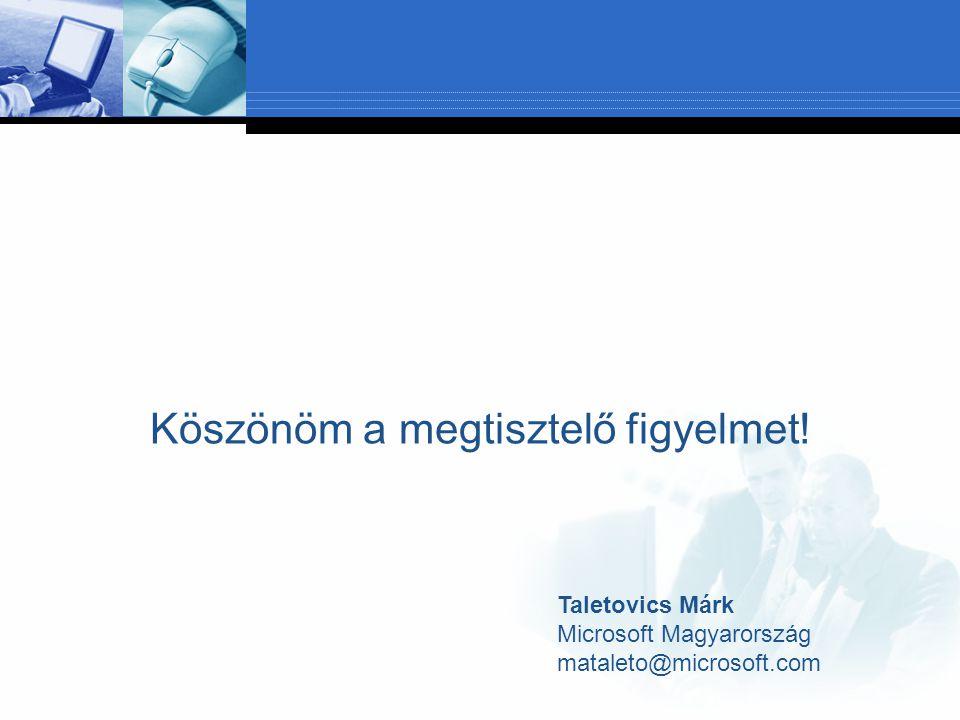 Köszönöm a megtisztelő figyelmet! Taletovics Márk Microsoft Magyarország mataleto@microsoft.com
