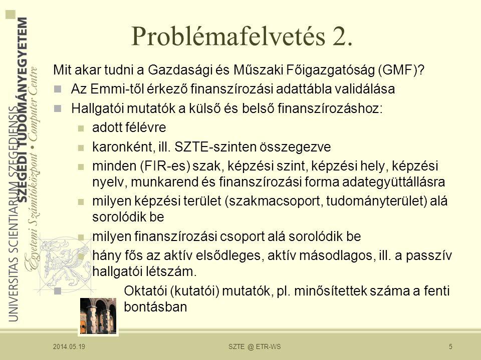 Problémafelvetés 2. Mit akar tudni a Gazdasági és Műszaki Főigazgatóság (GMF).