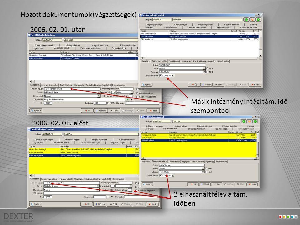 Hozott dokumentumok (végzettségek) 2006. 02. 01.