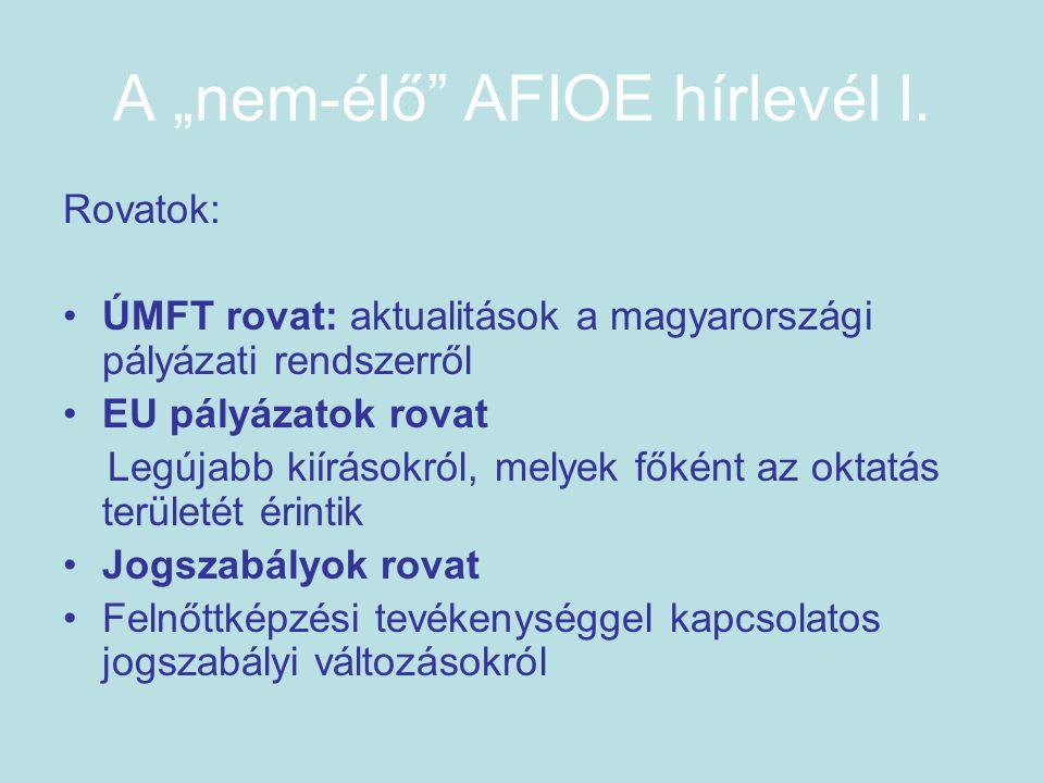 """A """"nem-élő AFIOE hírlevél I."""