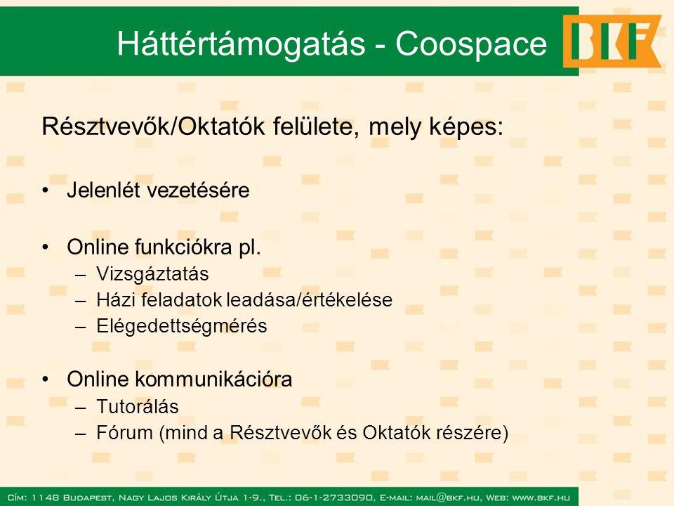 Háttértámogatás - Coospace Résztvevők/Oktatók felülete, mely képes: Jelenlét vezetésére Online funkciókra pl.