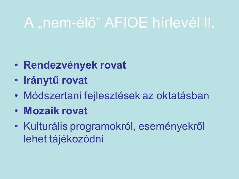 """A """"nem-élő AFIOE hírlevél II."""