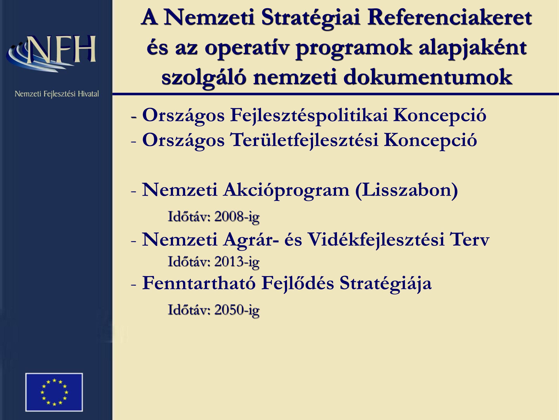 A Nemzeti Stratégiai Referenciakeret és az operatív programok alapjaként szolgáló nemzeti dokumentumok - - Országos Fejlesztéspolitikai Koncepció - Országos Területfejlesztési Koncepció - Nemzeti Akcióprogram (Lisszabon) Időtáv: 2008-ig - Nemzeti Agrár- és Vidékfejlesztési Terv Időtáv: 2013-ig Időtáv: 2050-ig - Fenntartható Fejlődés Stratégiája Időtáv: 2050-ig