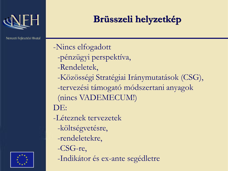 Brüsszeli helyzetkép -Nincs elfogadott -pénzügyi perspektíva, -Rendeletek, -Közösségi Stratégiai Iránymutatások (CSG), -tervezési támogató módszertani anyagok (nincs VADEMECUM!) DE: -Léteznek tervezetek -költségvetésre, -rendeletekre, -CSG-re, -Indikátor és ex-ante segédletre