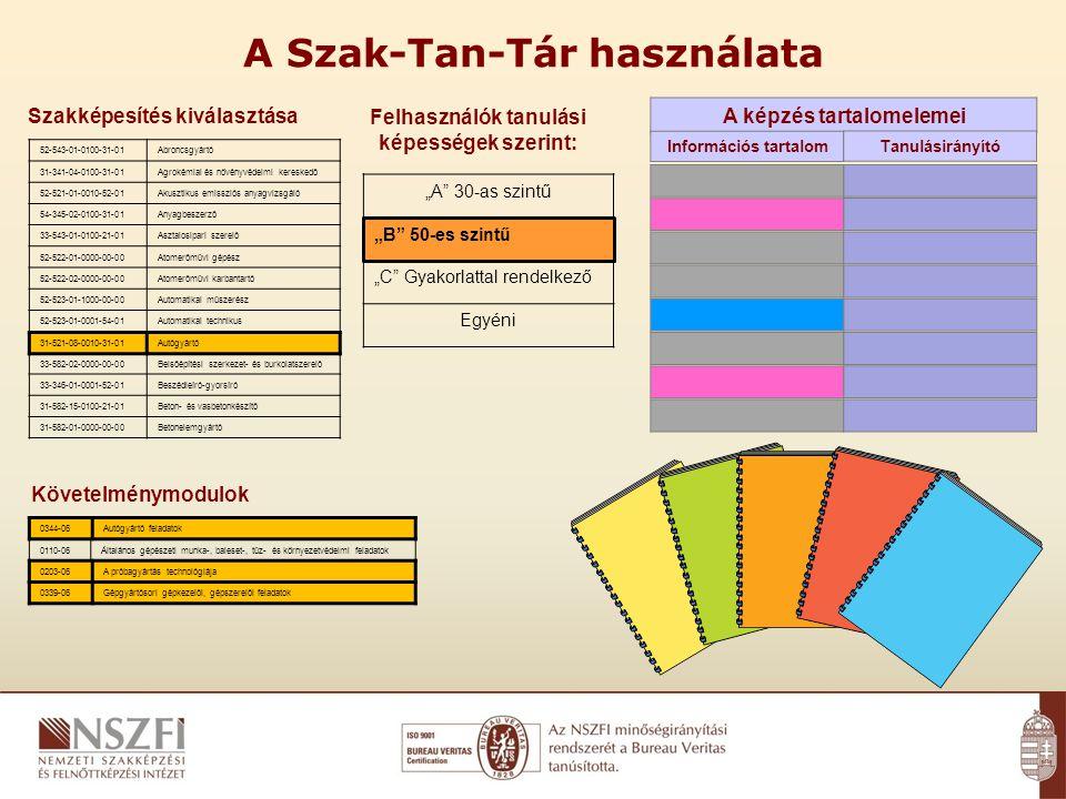 """A Szak-Tan-Tár használata Szakképesítés kiválasztása Követelménymodulok 52-543-01-0100-31-01Abroncsgyártó 31-341-04-0100-31-01Agrokémiai és növényvédelmi kereskedő 52-521-01-0010-52-01Akusztikus emissziós anyagvizsgáló 54-345-02-0100-31-01Anyagbeszerző 33-543-01-0100-21-01Asztalosipari szerelő 52-522-01-0000-00-00Atomerőművi gépész 52-522-02-0000-00-00Atomerőművi karbantartó 52-523-01-1000-00-00Automatikai műszerész 52-523-01-0001-54-01Automatikai technikus 31-521-08-0010-31-01Autógyártó 33-582-02-0000-00-00Belsőépítési szerkezet- és burkolatszerelő 33-346-01-0001-52-01Beszédleíró-gyorsíró 31-582-15-0100-21-01Beton- és vasbetonkészítő 31-582-01-0000-00-00Betonelemgyártó 0344-06Autógyártó feladatok 0110-06Általános gépészeti munka-, baleset-, tűz- és környezetvédelmi feladatok 0203-06A próbagyártás technológiája 0339-06Gépgyártósori gépkezelői, gépszerelői feladatok 31-521-08-0010-31-01Autógyártó A képzés tartalomelemei Felhasználók tanulási képességek szerint: Információs tartalom Tanulásirányító 0344-06Autógyártó feladatok 0203-06A próbagyártás technológiája 0339-06Gépgyártósori gépkezelői, gépszerelői feladatok """"A 30-as szintű """"B 50-es szintű """"C Gyakorlattal rendelkező Egyéni"""