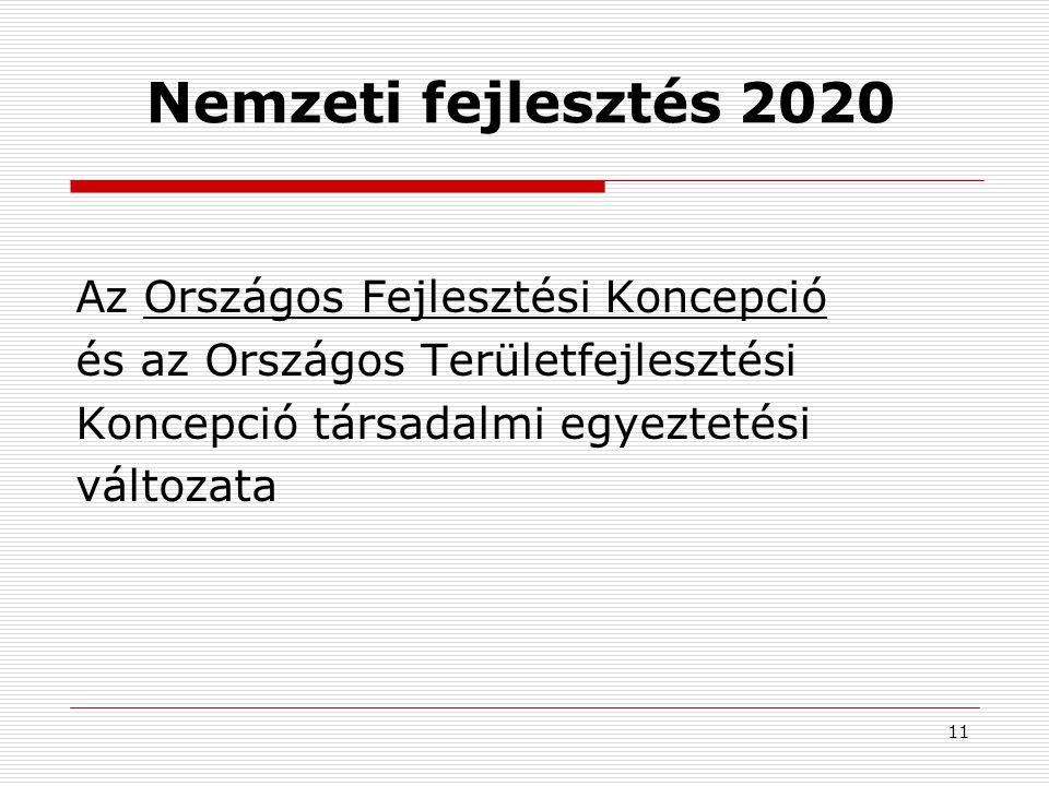 11 Nemzeti fejlesztés 2020 Az Országos Fejlesztési Koncepció és az Országos Területfejlesztési Koncepció társadalmi egyeztetési változata
