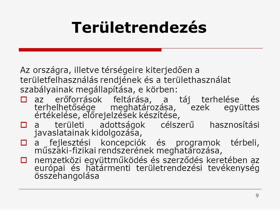 9 Területrendezés Az országra, illetve térségeire kiterjedően a területfelhasználás rendjének és a területhasználat szabályainak megállapítása, e körb