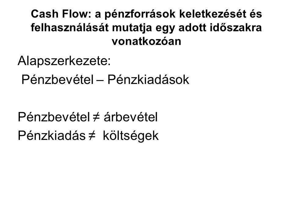 Cash Flow: a pénzforrások keletkezését és felhasználását mutatja egy adott időszakra vonatkozóan Alapszerkezete: Pénzbevétel – Pénzkiadások Pénzbevéte