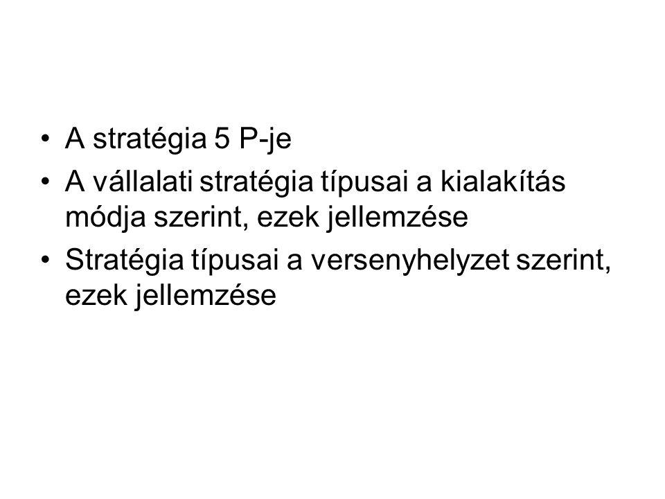 A stratégia 5 P-je A vállalati stratégia típusai a kialakítás módja szerint, ezek jellemzése Stratégia típusai a versenyhelyzet szerint, ezek jellemzé