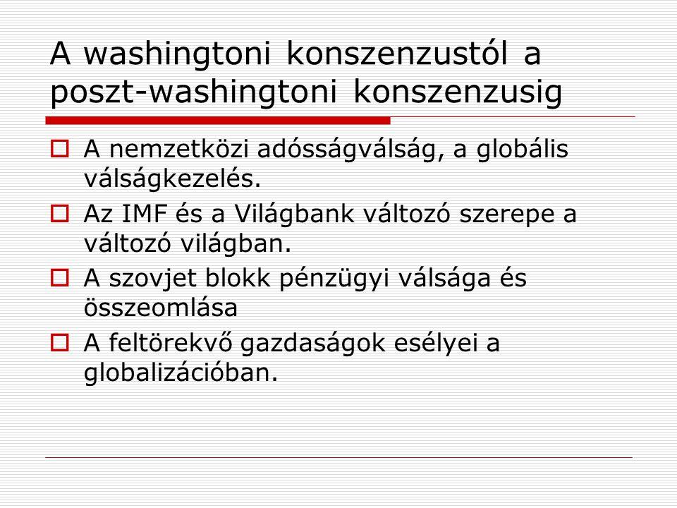 A washingtoni konszenzustól a poszt-washingtoni konszenzusig  A nemzetközi adósságválság, a globális válságkezelés.  Az IMF és a Világbank változó s