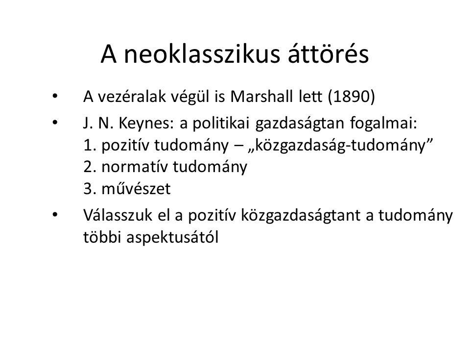 A neoklasszikus áttörés A vezéralak végül is Marshall lett (1890) J.