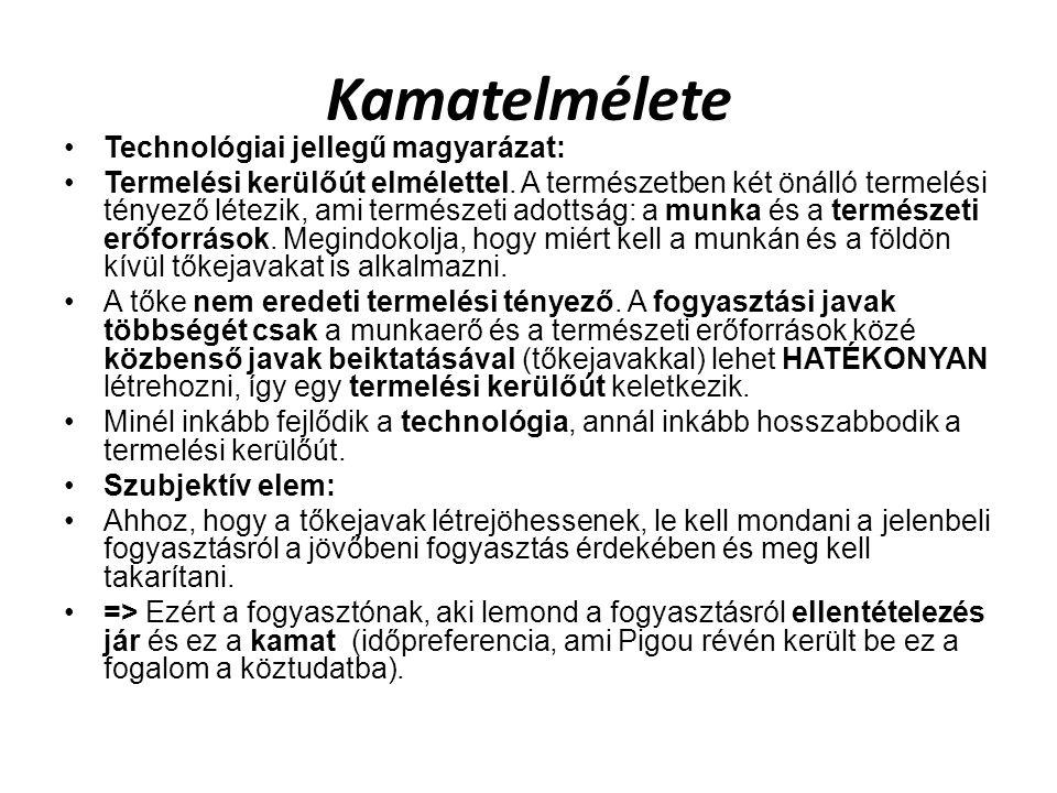 Kamatelmélete Technológiai jellegű magyarázat: Termelési kerülőút elmélettel.
