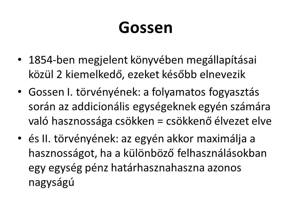 Gossen 1854-ben megjelent könyvében megállapításai közül 2 kiemelkedő, ezeket később elnevezik Gossen I.