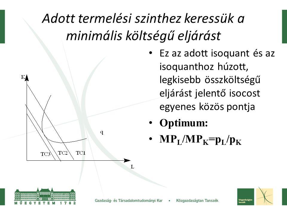 Adott termelési szinthez keressük a minimális költségű eljárást Ez az adott isoquant és az isoquanthoz húzott, legkisebb összköltségű eljárást jelentő
