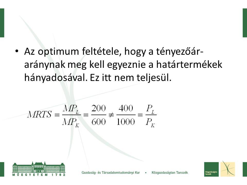 Az optimum feltétele, hogy a tényezőár- aránynak meg kell egyeznie a határtermékek hányadosával. Ez itt nem teljesül.