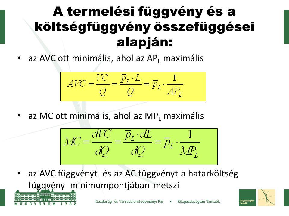 A termelési függvény és a költségfüggvény összefüggései alapján: az AVC ott minimális, ahol az AP L maximális az MC ott minimális, ahol az MP L maximá