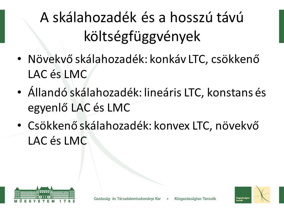 A skálahozadék és a hosszú távú költségfüggvények Növekvő skálahozadék: konkáv LTC, csökkenő LAC és LMC Állandó skálahozadék: lineáris LTC, konstans é