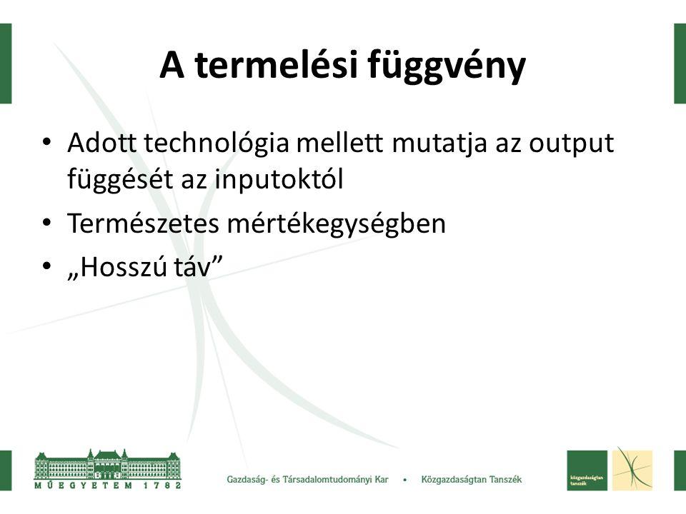 """A termelési függvény Adott technológia mellett mutatja az output függését az inputoktól Természetes mértékegységben """"Hosszú táv"""""""