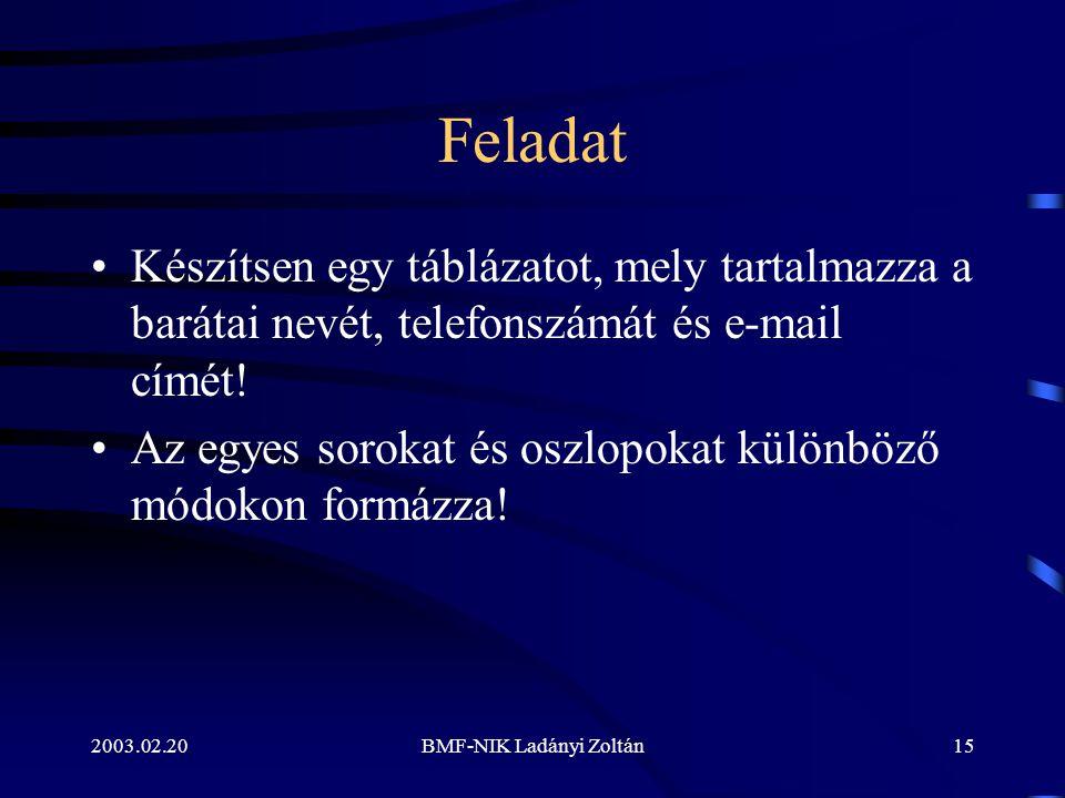 2003.02.20BMF-NIK Ladányi Zoltán15 Feladat Készítsen egy táblázatot, mely tartalmazza a barátai nevét, telefonszámát és e-mail címét.