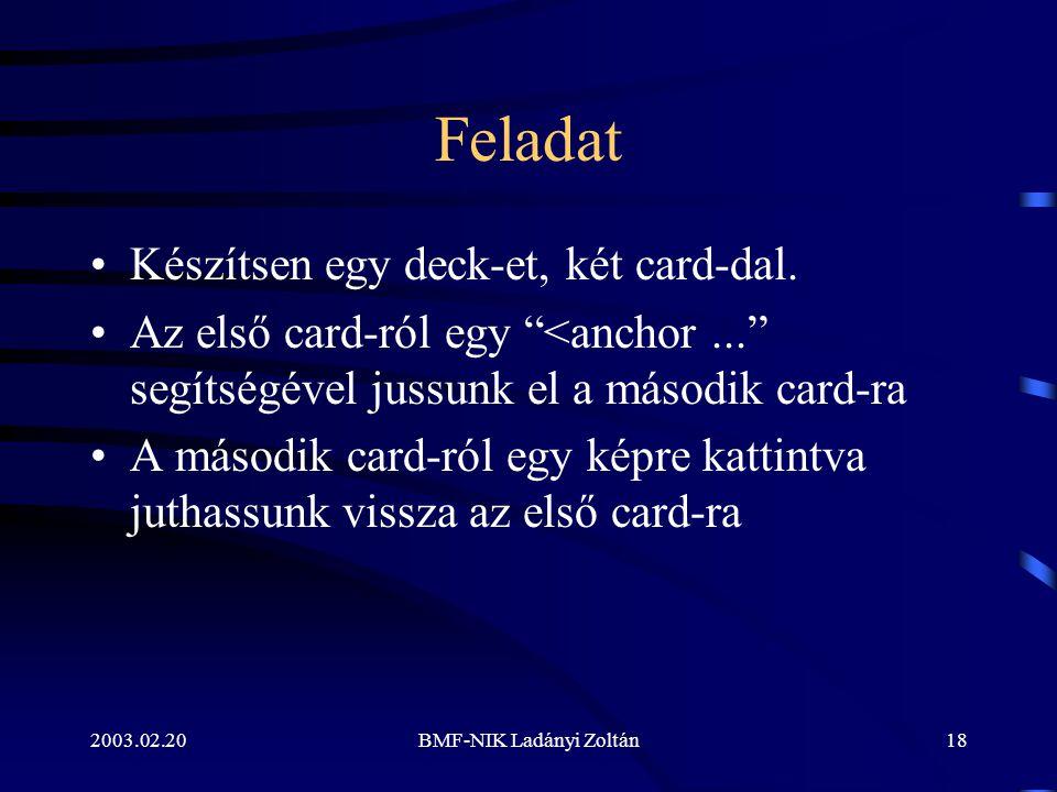 2003.02.20BMF-NIK Ladányi Zoltán18 Feladat Készítsen egy deck-et, két card-dal.