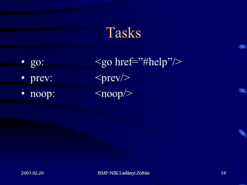 2003.02.20BMF-NIK Ladányi Zoltán19 Tasks go: prev: noop: