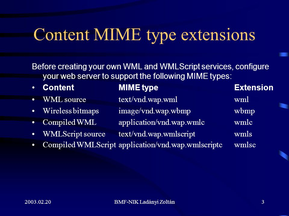 2003.02.20BMF-NIK Ladányi Zoltán3 Content MIME type extensions Before creating your own WML and WMLScript services, configure your web server to support the following MIME types: Content MIME type Extension WML source text/vnd.wap.wmlwml Wireless bitmaps image/vnd.wap.wbmp wbmp Compiled WML application/vnd.wap.wmlcwmlc WMLScript source text/vnd.wap.wmlscript wmls Compiled WMLScript application/vnd.wap.wmlscriptc wmlsc