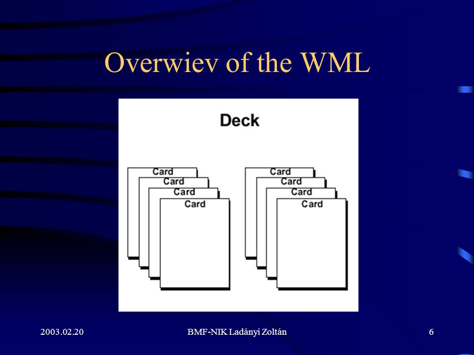 WML Structure The first line specifies the XML version number.