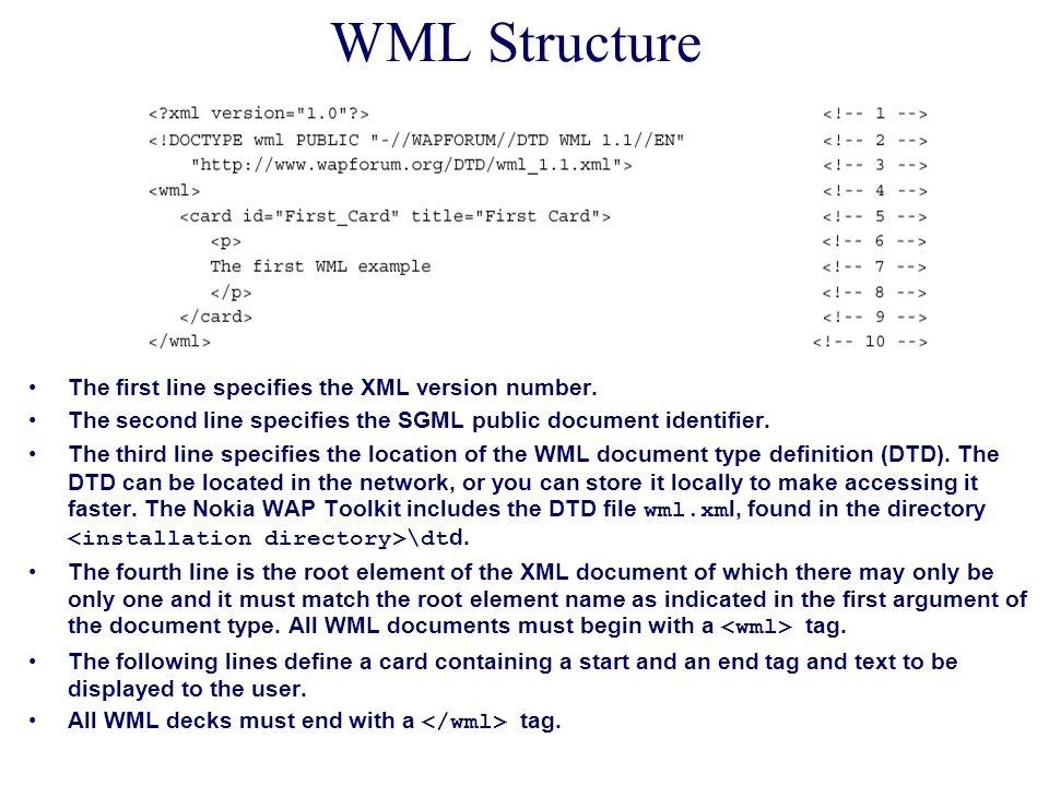 WML Structure The first line specifies the XML version number. The second line specifies the SGML public document identifier. The third line specifies