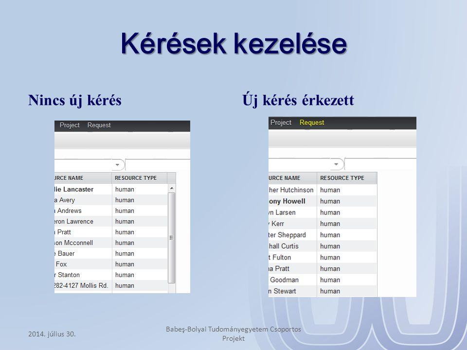Kérések kezelése Nincs új kérés Új kérés érkezett 2014. július 30. Babeş-Bolyai Tudományegyetem Csoportos Projekt