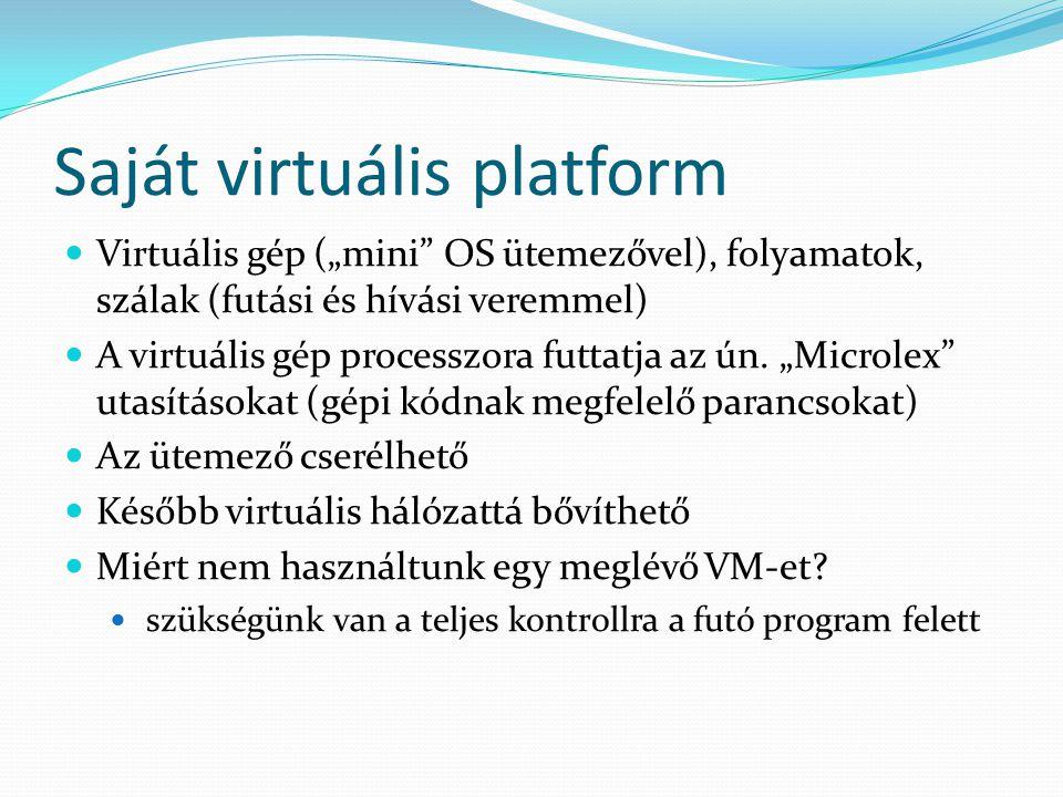"""Saját virtuális platform Virtuális gép (""""mini"""" OS ütemezővel), folyamatok, szálak (futási és hívási veremmel) A virtuális gép processzora futtatja az"""
