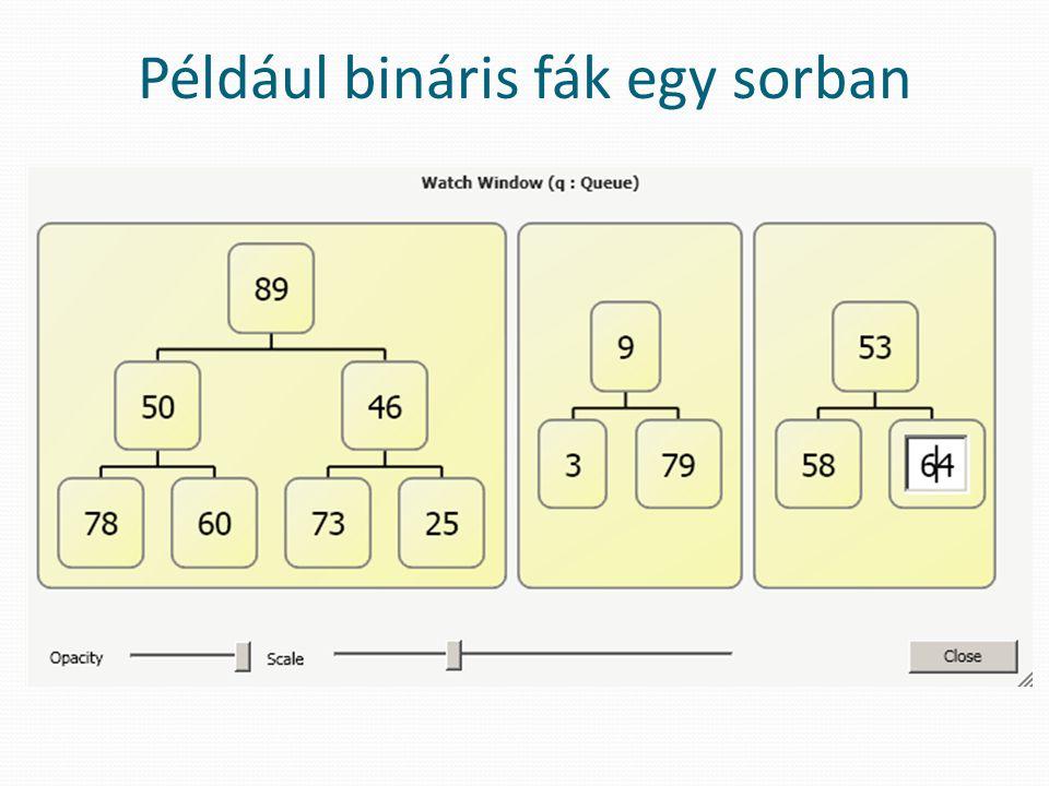 Például bináris fák egy sorban